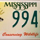 2002 Mississippi Conserving Wildlife - Deer License Plate (9943 WD)
