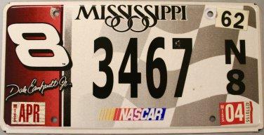 2004 Mississippi License Plate: NASCAR #8 Dale Earnhardt Jr. (3467)