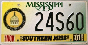 2001 Mississippi: University of Southern Mississippi License Plate (24S60)