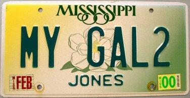 2000 Mississippi Vanity License Plate (MY GAL2)