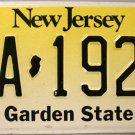 New Jersey License Plate (JA 192W)