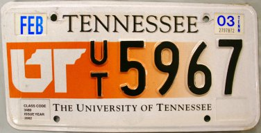 2003 Tennessee: University of Tennessee License Plate (UT 5967)