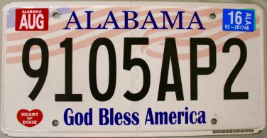 2016 Alabama God Bless America License Plate (9105AP2)