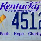 2014 Kentucky Freemason License Plate (4512 FA)
