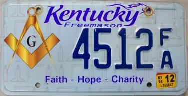 2014 Kentucky Freemason License Plate (4512 FA)