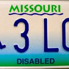 1998 Missouri Disabled Wheelchair License Plate (3LCZ)
