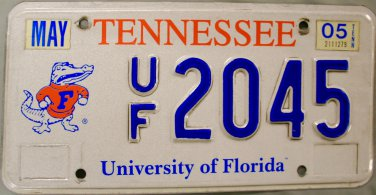 2005 Tennessee: University of Florida License Plate (UF 2045)