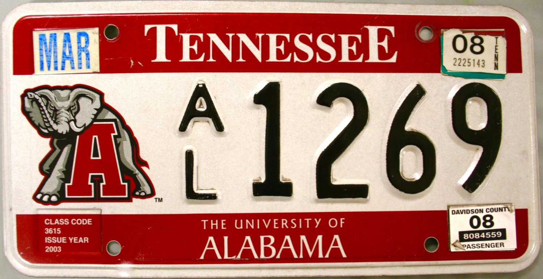 2008 Tennessee: University of Alabama License Plate (AL 1269)