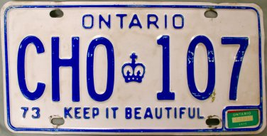 1973 Ontario License Plate Canada with 1975 Sticker (CHO 107)