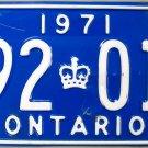 1971 Ontario License Plate Canada (992 018)