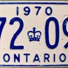 1970 Ontario License Plate Canada (172 093)