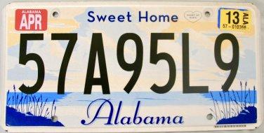 2013 Alabama License Plate (57A95L9)