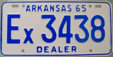 1965 Arkansas Dealer License Plate (Ex3438)
