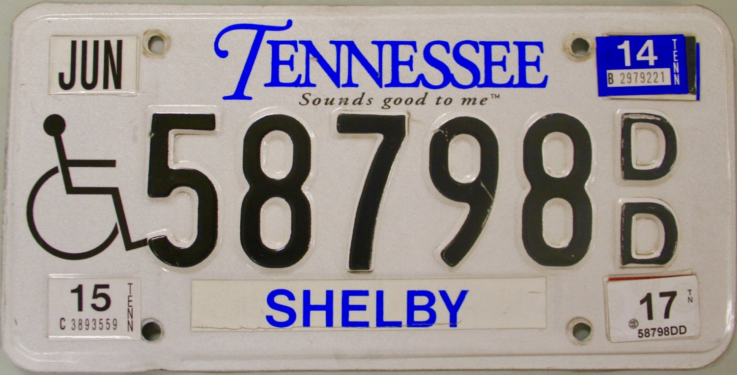 2014 Tennessee Disabled License Plate (58798 DD)