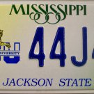 Mississippi: Jackson State University License Plate (44J45)