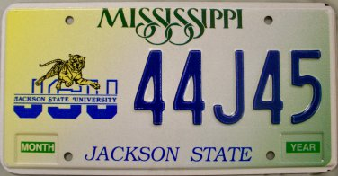Mississippi: Jackson State University License Plate (44J45)