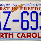 """2016 North Carolina """"First In Freedom"""" License Plate (PAZ-6939)"""