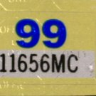 Arkansas: Motorcycle Plate Year Sticker (1999)