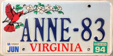 sc 1 st  Marks License Plates - eCRATER & 1994 Virginia Cardinal Vanity License Plate (ANNE-83)