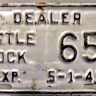 "1949 Arkansas ""Little Rock"" Dealer License Plate (65) Very Rare!!"