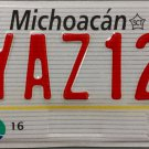 Mexico: Michoacan Motorcycle License Plate (YAZ12)