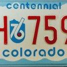 1976 Colorado Centennial License Plate (XH 7596)