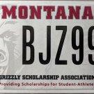 University Montana Grizzly Scholarship Association License Plate (BJZ997)