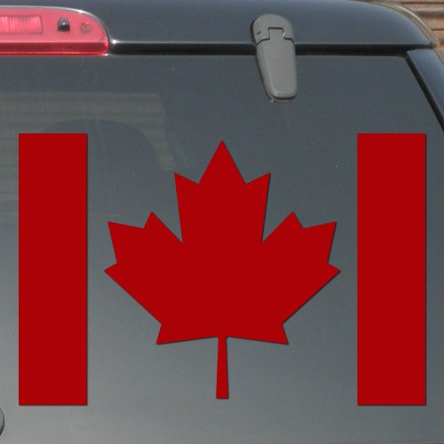 """8"""" x 5.3"""" - Canada Flag - Red Color - Pick Color - Vinyl Decal Sticker"""