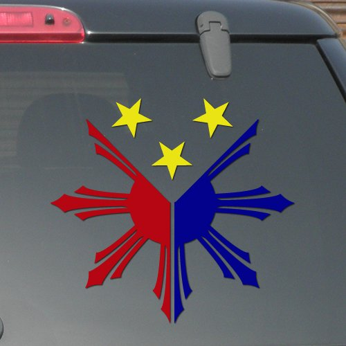 "6.5"" x 6"" - Philippines Flag - Three Color Decal - Pinoy Pinay - Vinyl Decal Sticker (Design # 04)"