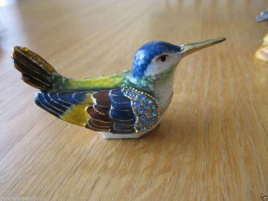 """Trinket Box Colorful Sitting  Bird  3"""" H trimmed in Crystals and Gold"""