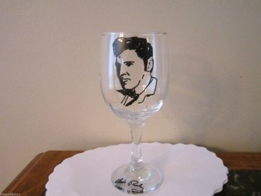 Hand Painted Glass ELVIS Stemware,10 oz Wine Glass