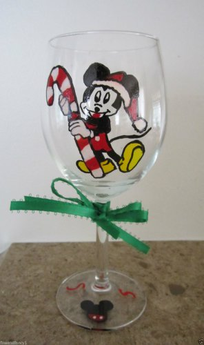 Hand Painted Glass  MICKEY MOUSE Christmas Candy Cane