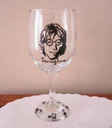 Hand Painted Glass JOHN LENNON , IMAGINE, BEATLES Stemware, 12 oz Wine Glass