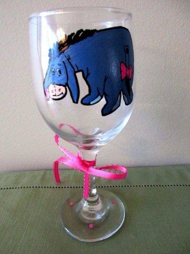 Hand Painted Wine Glass  Eeyore Winnie the Pooh Walking