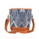 Myra Bags Blue Mist Canvas, leather & Rug Shoulder Bag S-1954