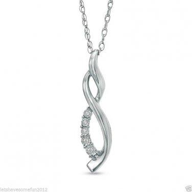 Zales Masquerade Diamond Infinity Pendant Necklace Sterling Silver .925 ~ NIB