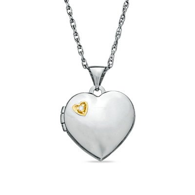 Zales Diamond Heart Locket Pendant Necklace Two-Tone Sterling Silver .925 ~ NEW