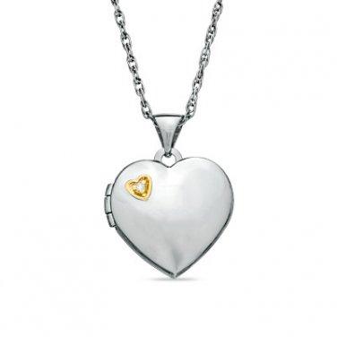 Zales Diamond Heart Locket Pendant Necklace Two-Tone Sterling Silver .925 ~ NEW