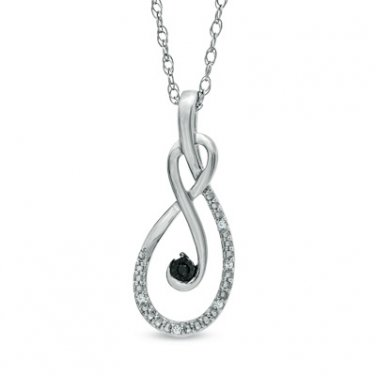 ZALES Diamond Black White Infinity Pendant Necklace Sterling Silver NIB