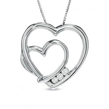 Zales ~ White Sapphire Double Heart sterling silver Pendant necklace - NIB