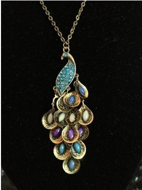 Retro Peacock Crystal Necklace Pendant Jewelry Vintage Style