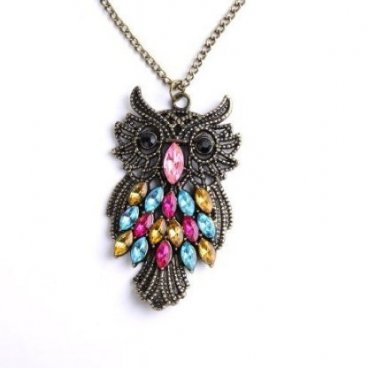 Vintage Style Retro Colorful Crystal Owl Pendant