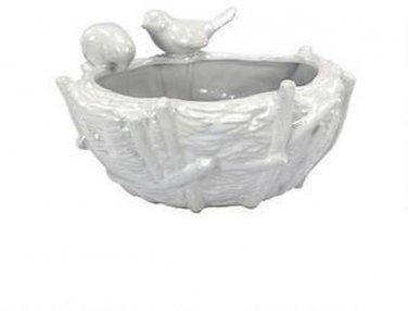 "Luyo 5"" Hand-Crafted Ceramic Oval Bird Vase"