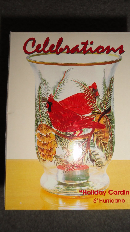 Mouth Blown Glass Celebrations Holiday Cardinal Handpainted Hurricane Lamp+Box