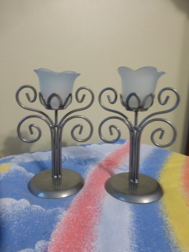 Frosted Glass Tulip Candle Holders with Metal Stems Set of Two