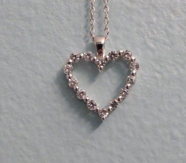 "White Sapphire Heart Pendant necklace incluldes 18"" Sterling Silver chain ~ NIB"