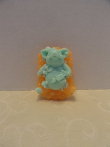 Pig in Bath Decorative Handmade Soap Green Orange
