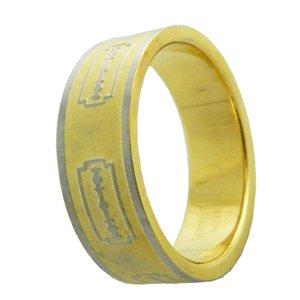 316L Stainless Steel Blade Pattern Handmade Men's Ring