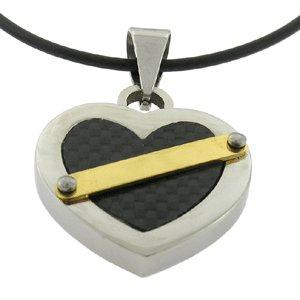 Stainless Steel Carbon Fiber Pendant Heart Pattern