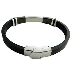 316L Stainless Steel Black Rubber Bracelet